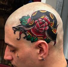 Traditional Snake Head And Rose Tattoos On Head