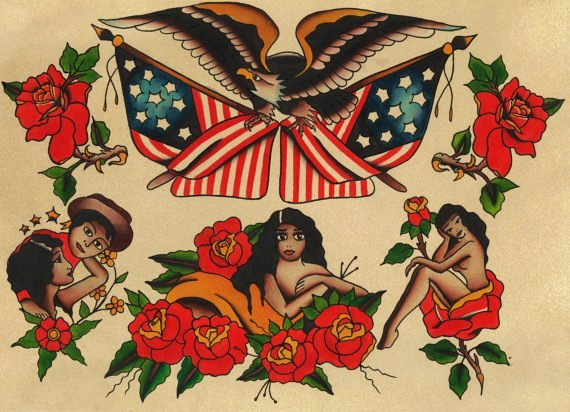 Traditional Style Patriotism Pretty Women Tattoo Flash Sheet