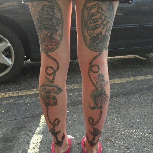 Traditional Style Tattoos On Back Legs