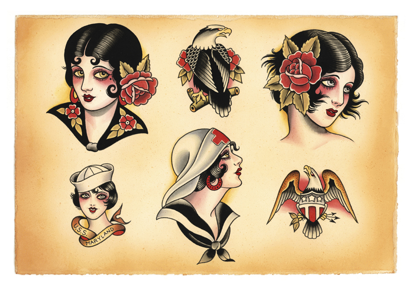 Traditional Tattoos Flash Sheet