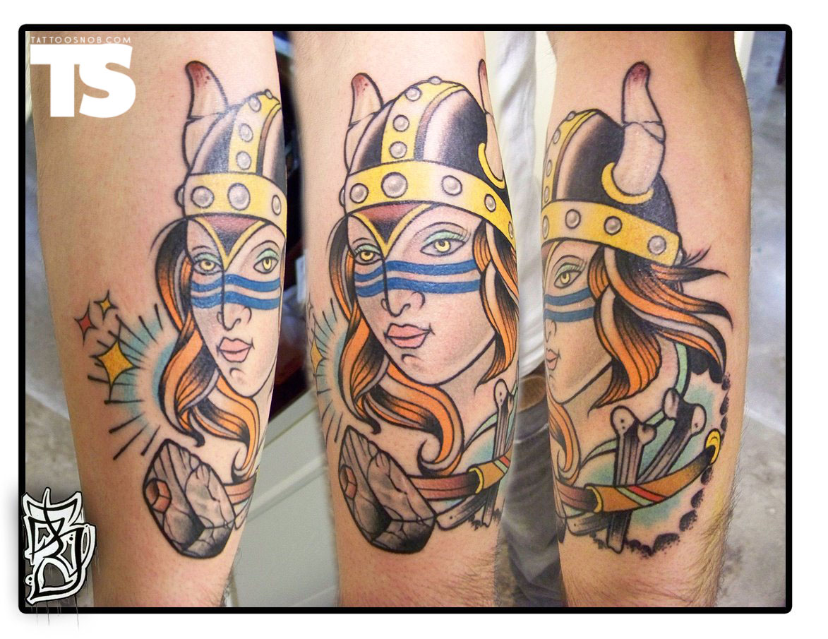 Traditional Viking Lady Tattoo Images