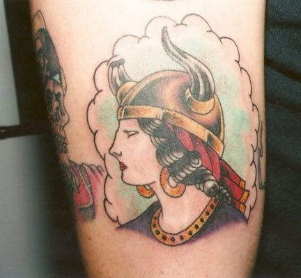 Traditional Viking Lady Tattoo