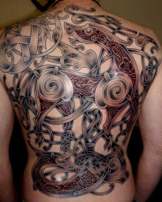 Traditional Viking Tattoo On Full Back