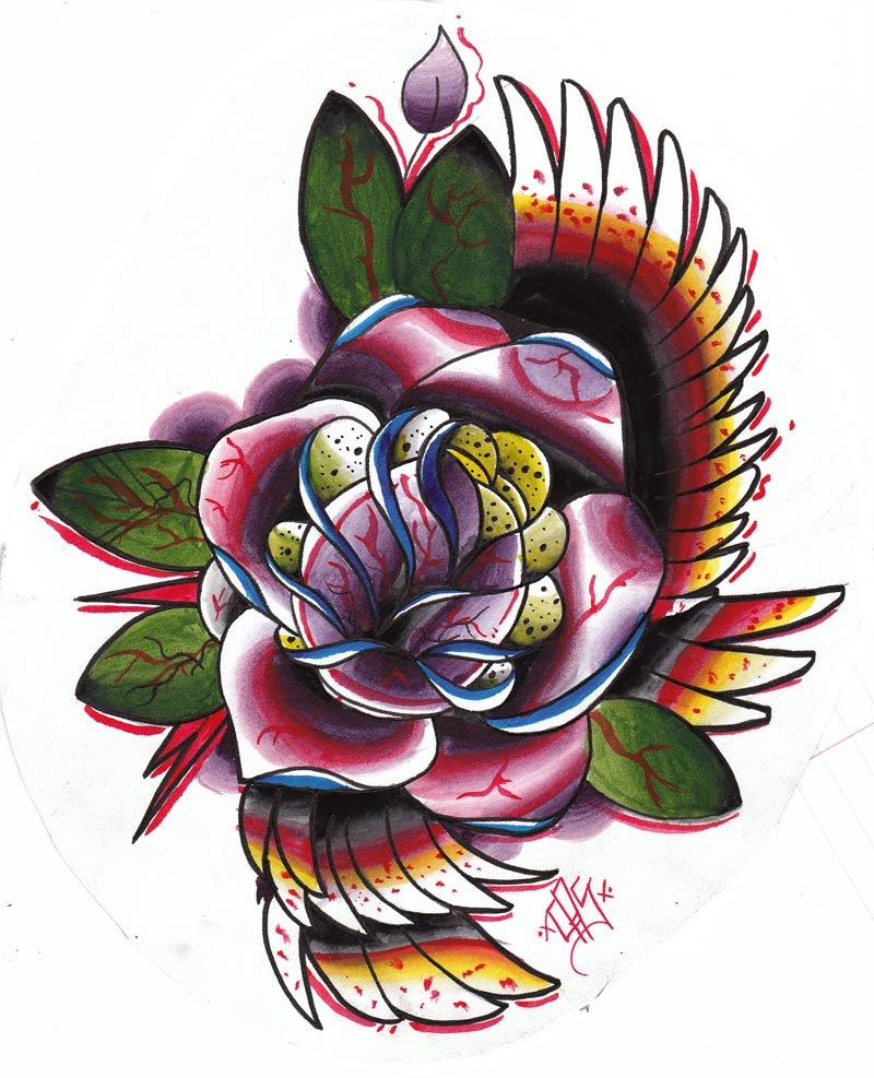 Traditional Wings And Rose Tattoo Designs