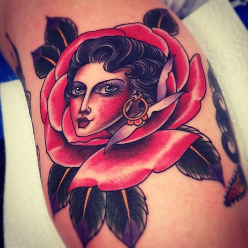 Traditional Woman Rose Tattoo