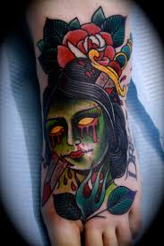 Traditional Zombie Girl Tattoo On Foot