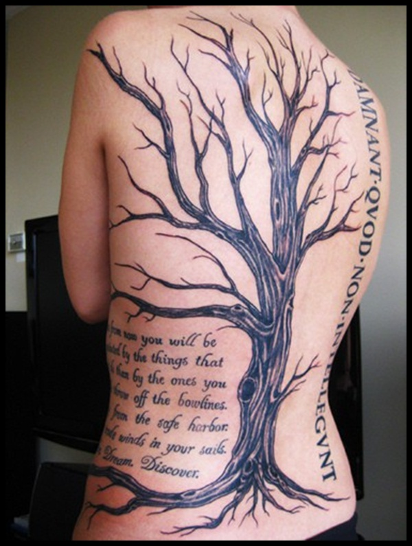 Tree And Wording Tattoos On Back For Men