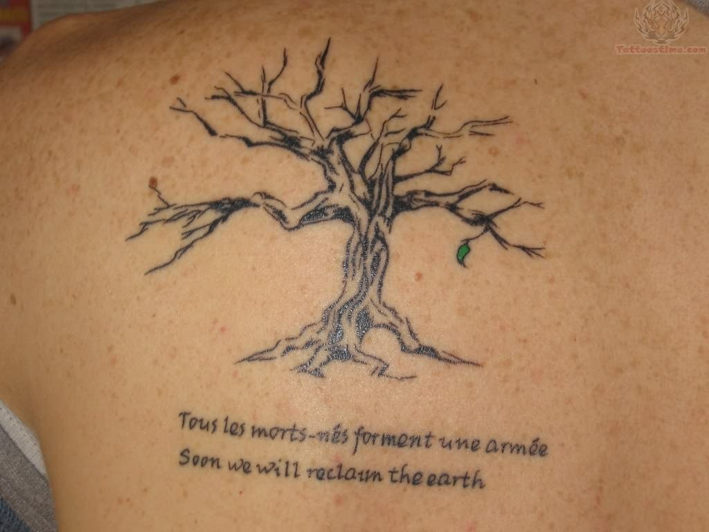 Tree And Wording Tattoos On Back