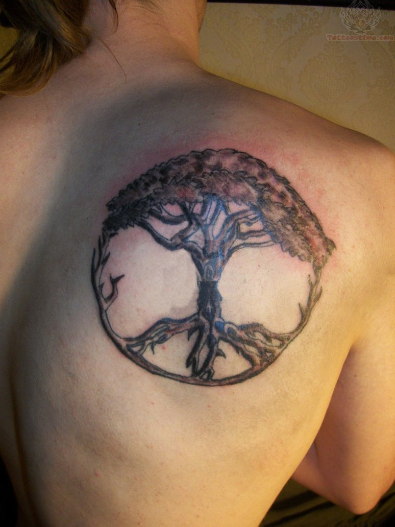 Tree Of Life Peace Tattoo On Right Back Shoulder