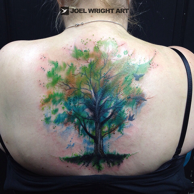 Tree Of Life Water Color Tattoo On Upper Back