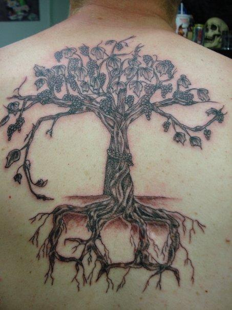 Tree Roots Back Tattoo For Men