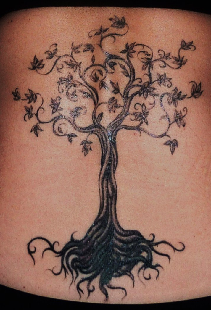 Tree Tattoo On Back Of Body