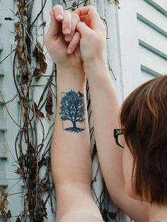 Tree With Roots Tattoos On Wrist