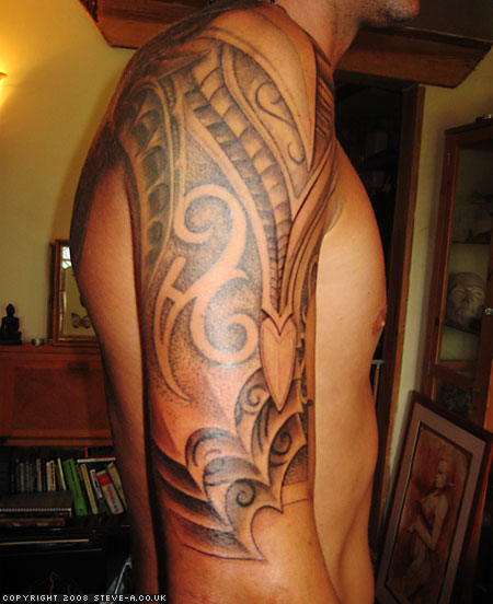 Tribal Biomechanical Half Sleeve Tattoo For Men