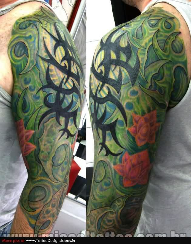 Tribal Biomechanical Sleeve Tattoos For Men
