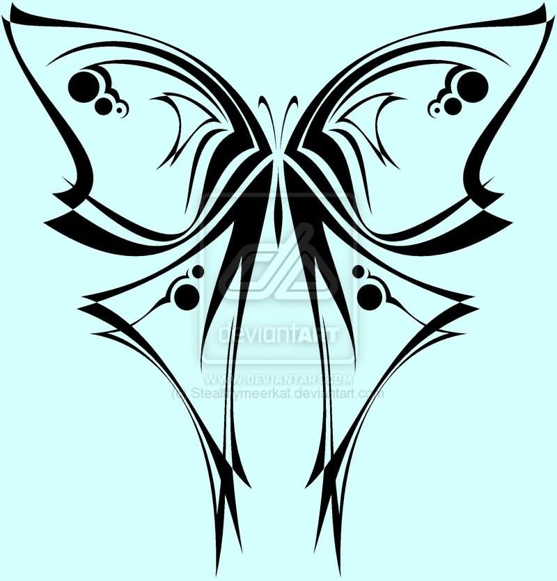 Tribal Butterfly Tattoo Flash