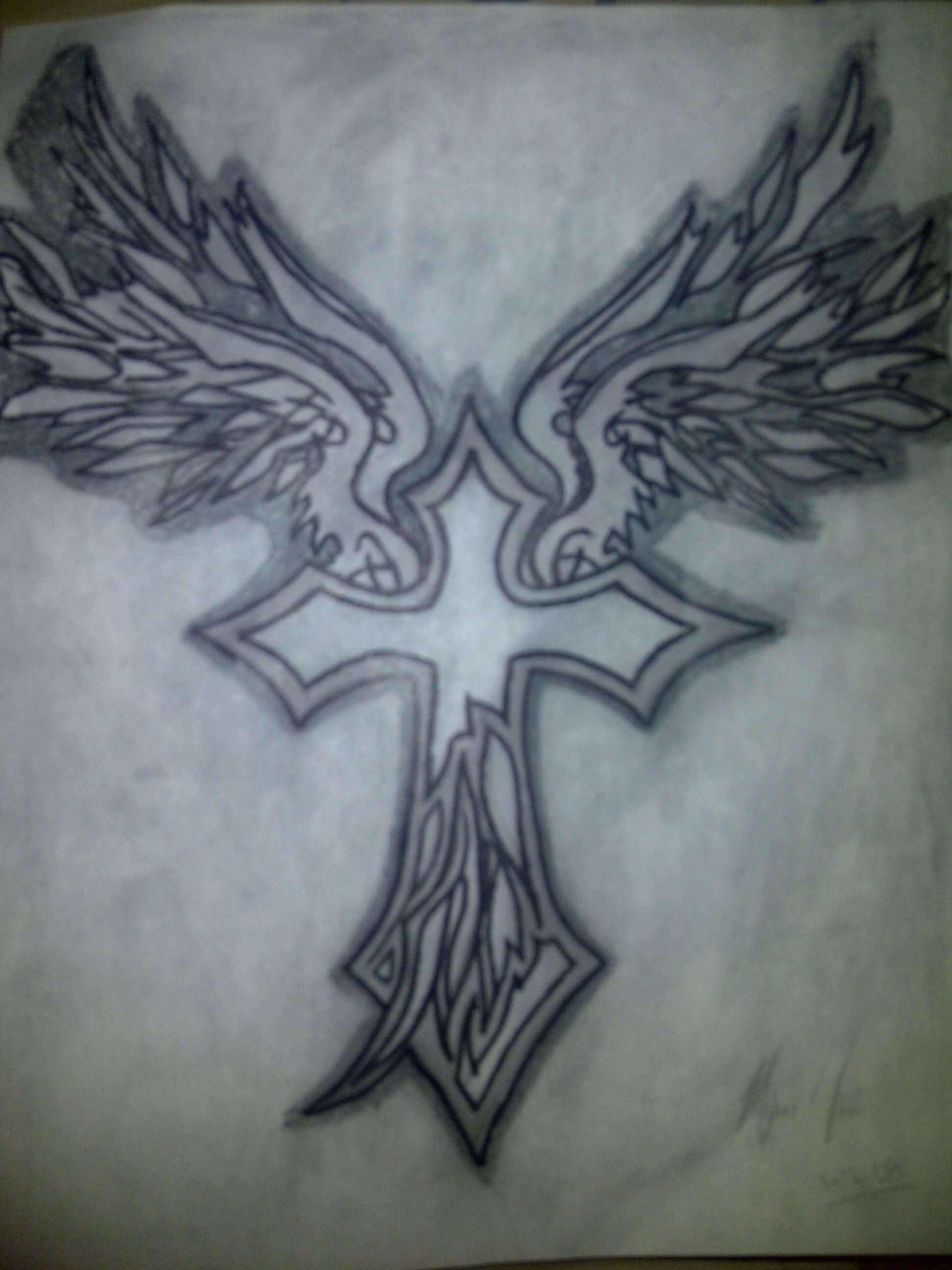 Tribal Cross With Wings Tattoo Design