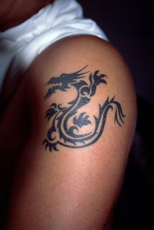 Tribal Dragon Asian Tattoo