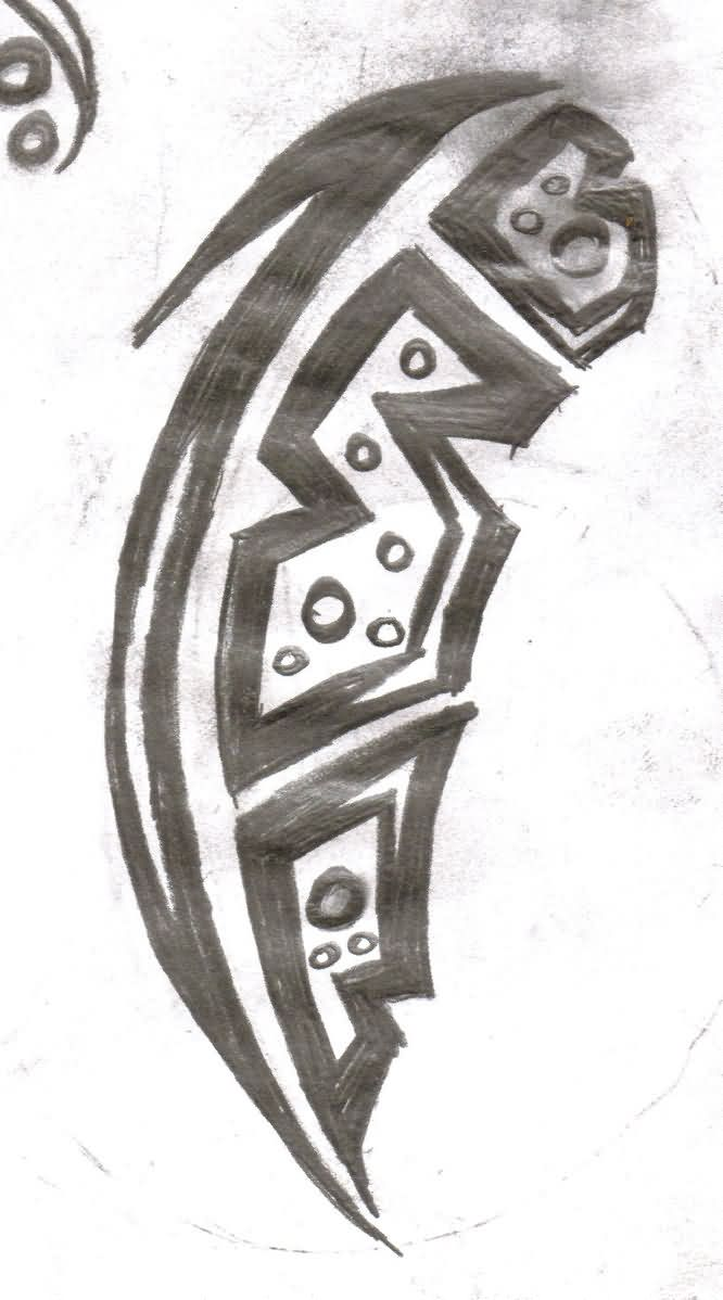 Tribal Feather Tattoo Sketch