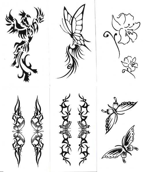Tribal Flowers And Phoenix Tattoo Designs