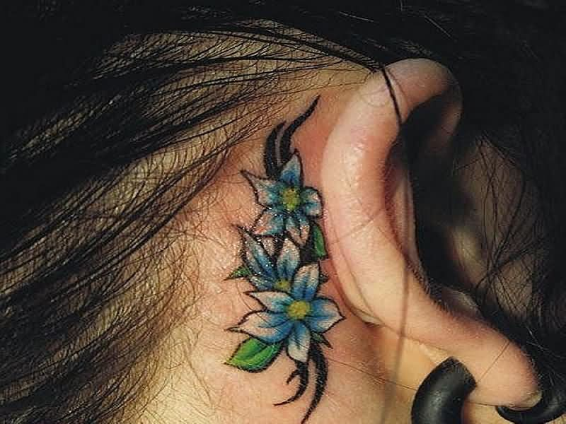 Tribal Flowers Tattoo On Back Half Moon Tattoo On Wrist