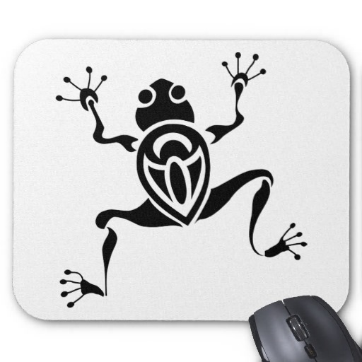 Tribal Frog Tattoo Mouse Pads