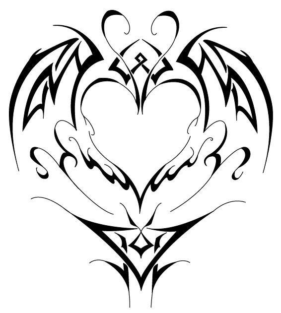 Tribal Heart Tattoo Stencil