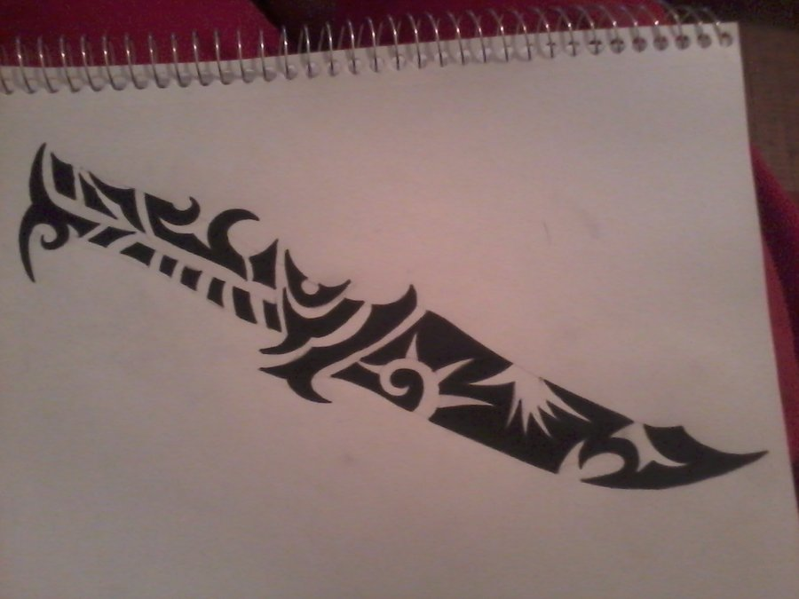 Tribal Knife Tattoo Design