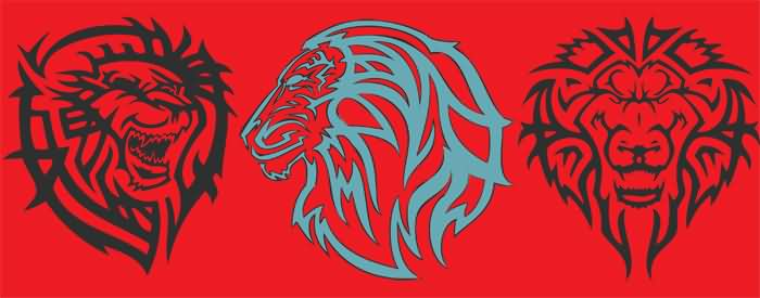 Tribal Lion Tattoo Designs On A Red Background