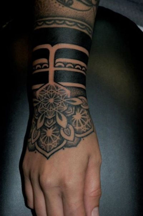 Tribal Mandala Tattoo For Hand