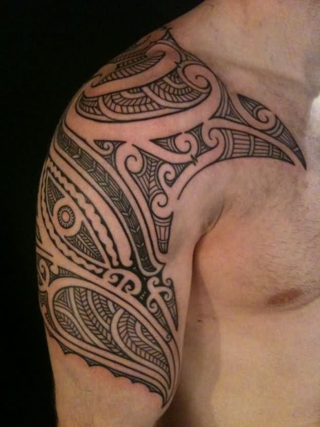 Tribal Maori Half Sleeve Tattoo For Men