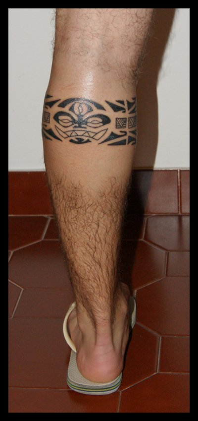 Tribal Maori Leg Band Tattoo