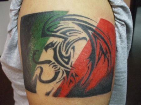 Tribal Mexican Flag Tattoo On Shoulder