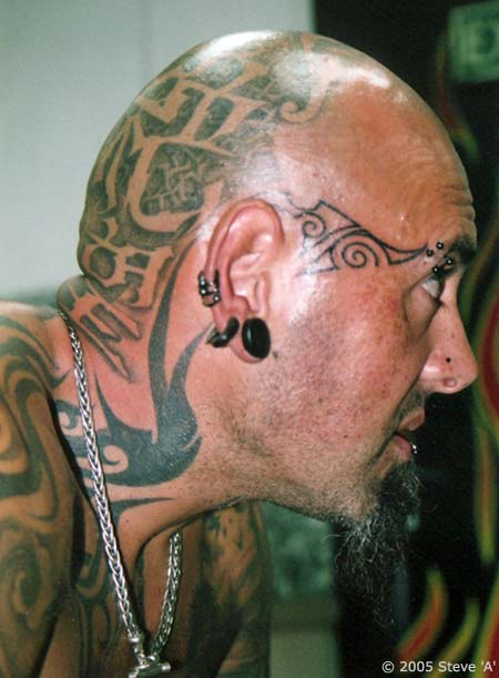 Tribal Tattoo On Face And Head