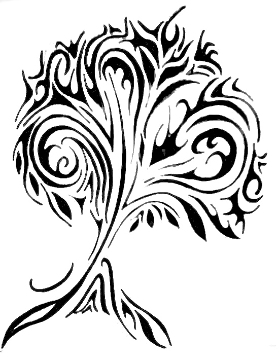 Tribal Tree Tattoo Stencil