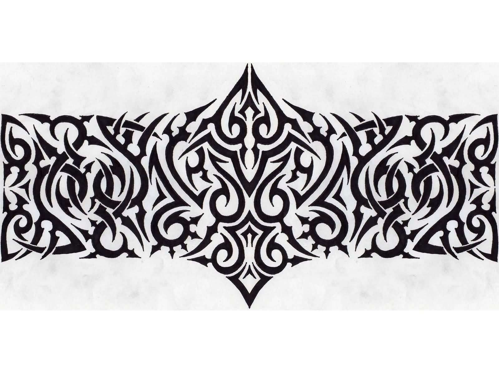 Tribal Wide Armband Tattoo Design