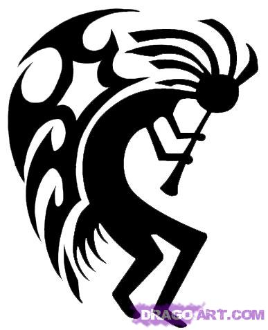 Tribal Winged Kokopelli Tattoo Stencil