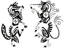 Tribal Wolf And Unicorn Tattoo Designs