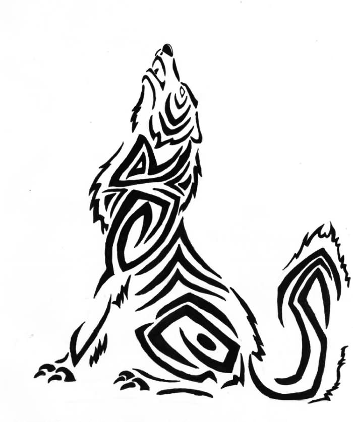 Tribal Wolf Howl Tattoo Design