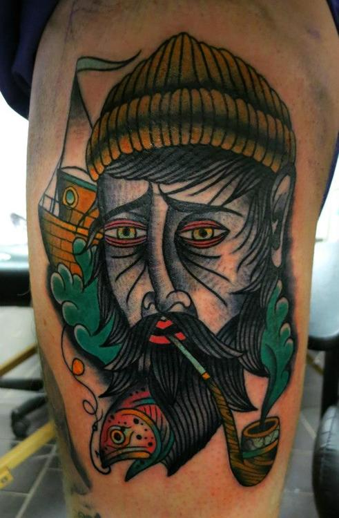 Tumblr Traditional Tattoos On Side Thigh