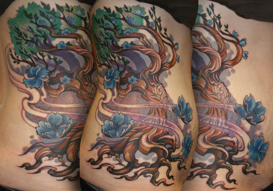 Twisted Tree Rib Side Tattoos
