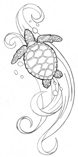 Uncolor Sea Turtle Tattoo Design