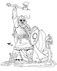 Uncolor Viking Warrior And Long Ship Tattoo Design