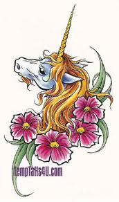 Unicorn Head And Pink Flowers Tattoos