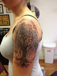 Upper Arm Forest Tree Tattoo For Girls