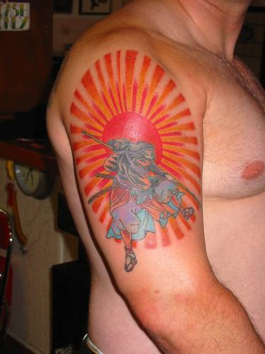 Upper Arm Japanese Rising Sun And Warrior Tattoos