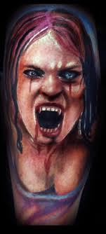 Vampire Girl Screaming Tattoo