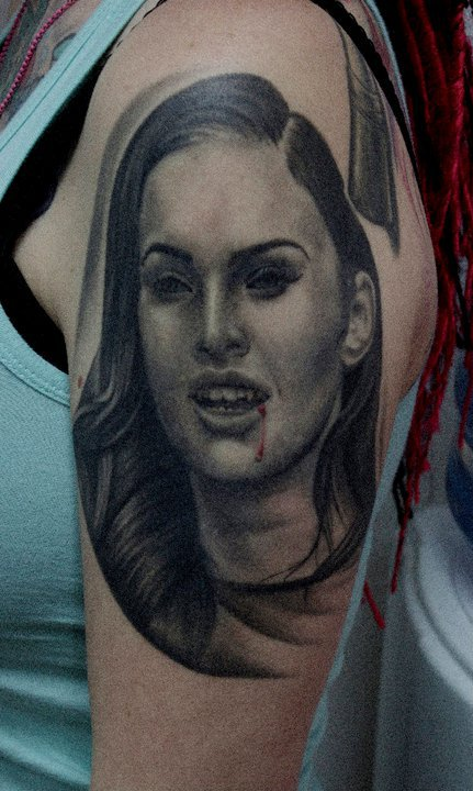 Vampire Megan Fox Portrait Tattoo For Biceps
