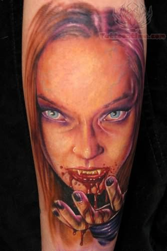 Vampire Scary Girl Tattoo On Arm