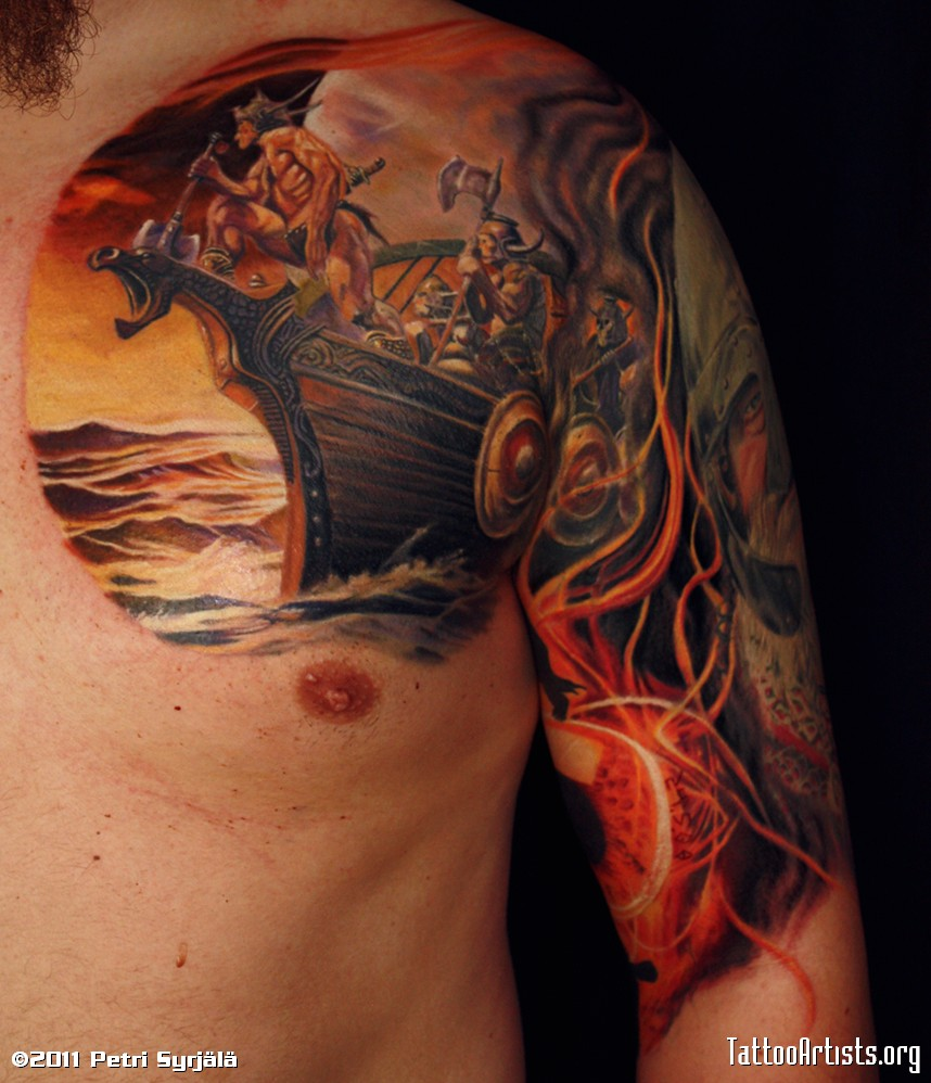 Viking Army Color Tattoo On Chest